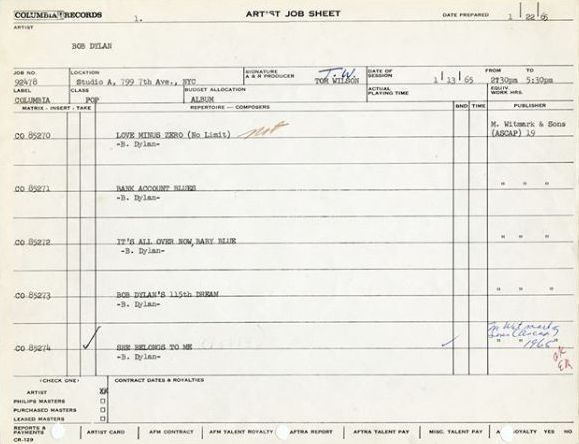 bob dylan artist job sheet 13-01-1965