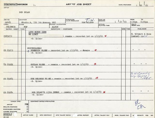 bob dylan artist job sheet 14-01-1965