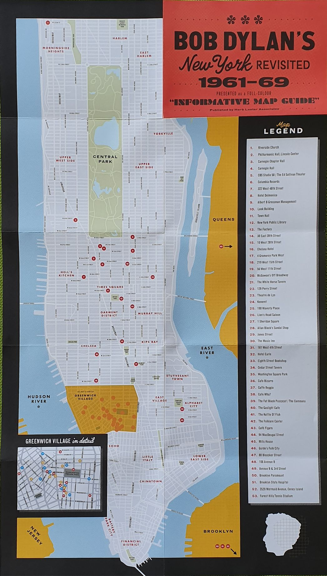bob dylan's New York Revisited 1961-69 map