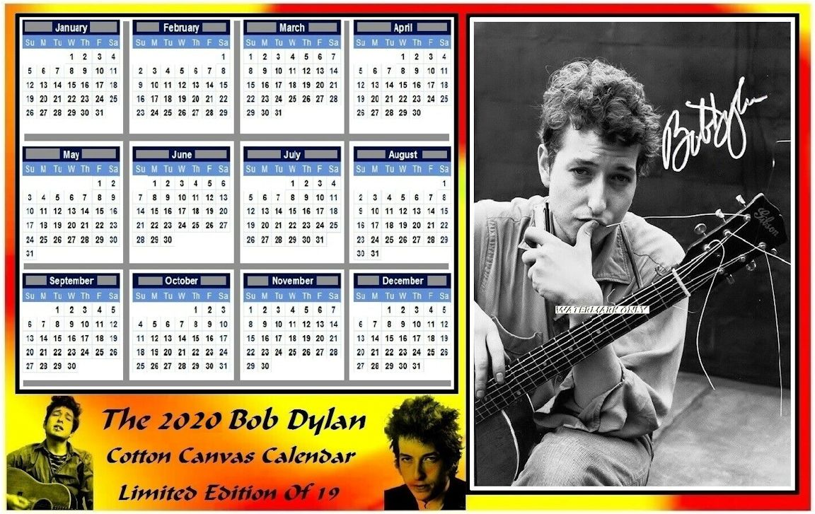 bob dylan 2020 cotton canvas calendar 2