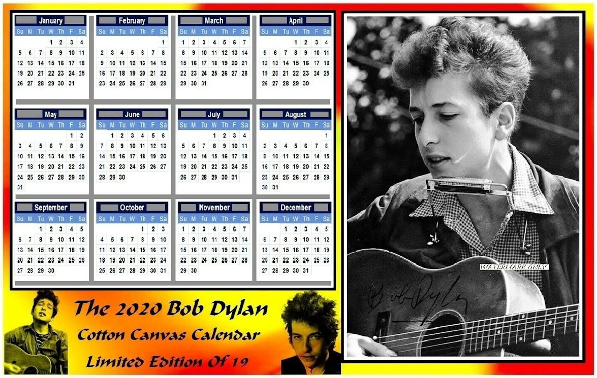 bob dylan 2020 cotton canvas calendar 3
