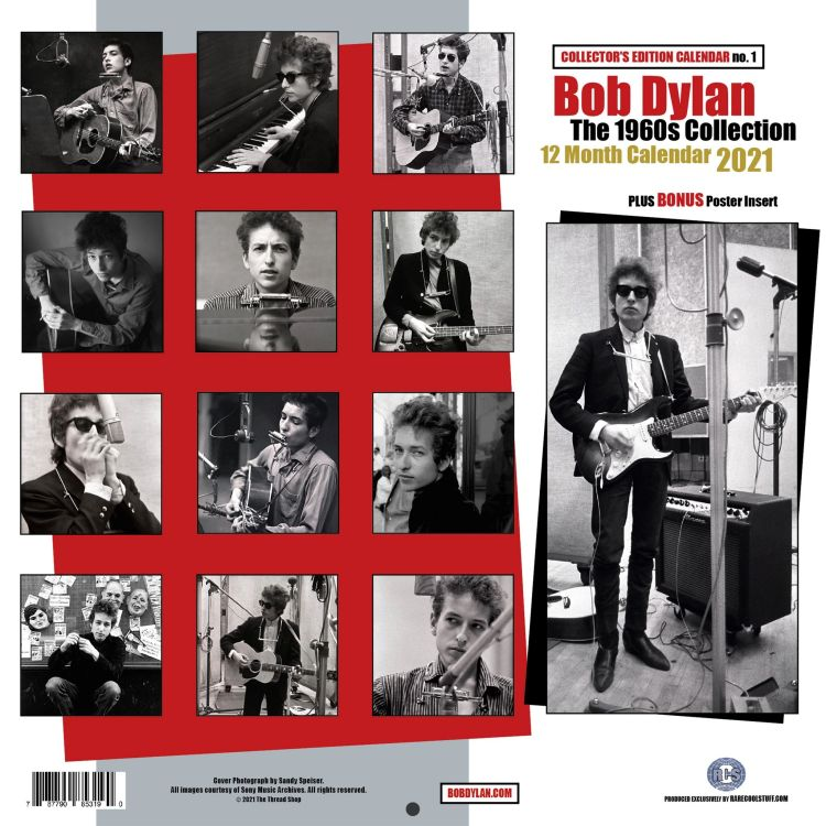 bob dylan 2021 calendar 1960s collection back