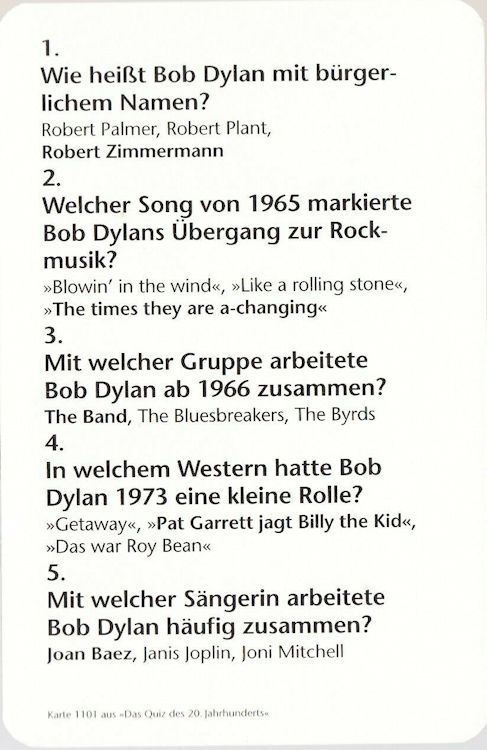 bob dylan germany 1997 back trading card