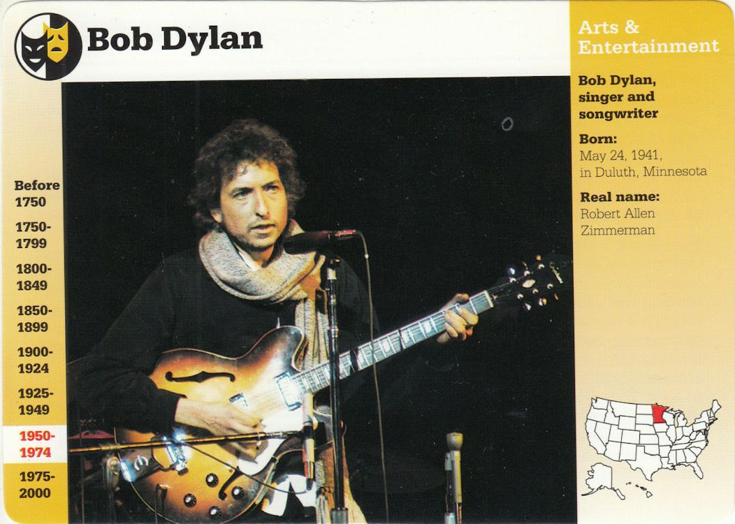 bob dylan Art And Entertainment trading cards grolier
