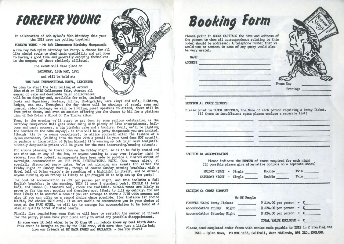 1991 forever young booking form 2