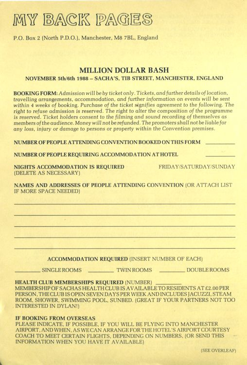 million dollar bash booking form