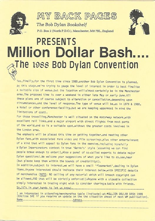 bob dylan convention million dollar bash 1988 flyer