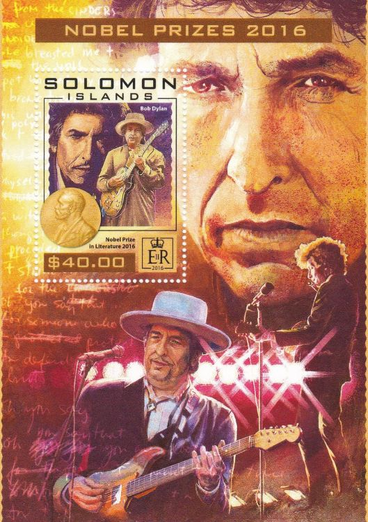 bob dylan Solomon Islands 2016, 'Nobel Prize 2016' stamp