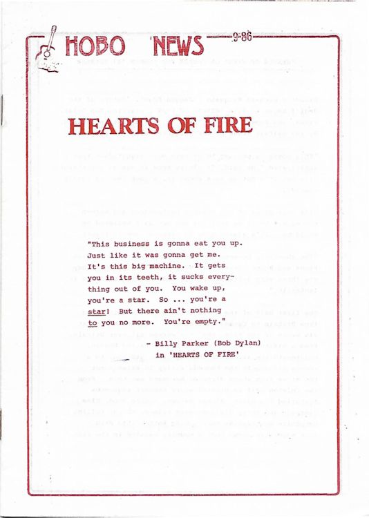 bob dylan hearts of fire hobo press