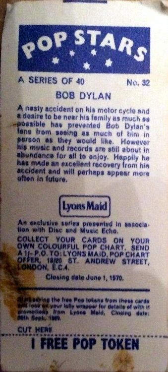bob dylan lyons maid back trading card