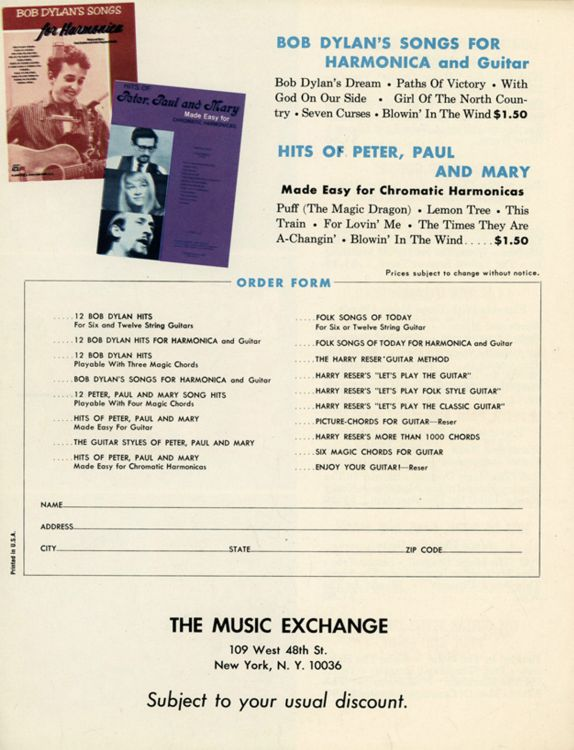 bob dylan music exchange flyer 3