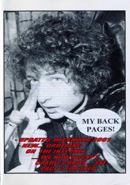 bob dylan My Back Pages catalogue december 2001