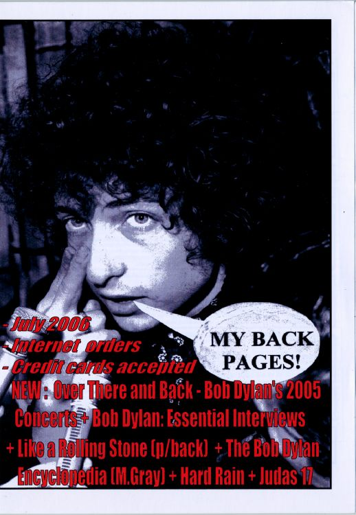 bob dylan My Back Pages catalogue july 2006