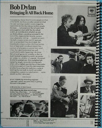 bob dylan  bringing it all back home original back notebook