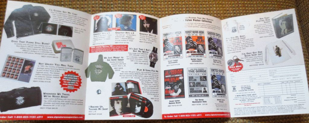 bob dylan official merchandising sales catalogue april 1994