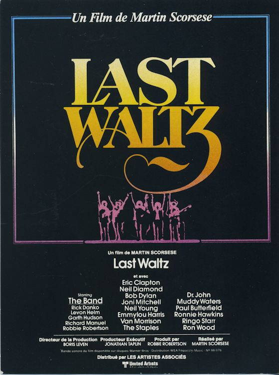 bob dylan the band the last waltz film French promo front