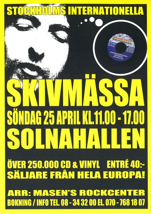 bob dylan on solna record fair 1999 flyer