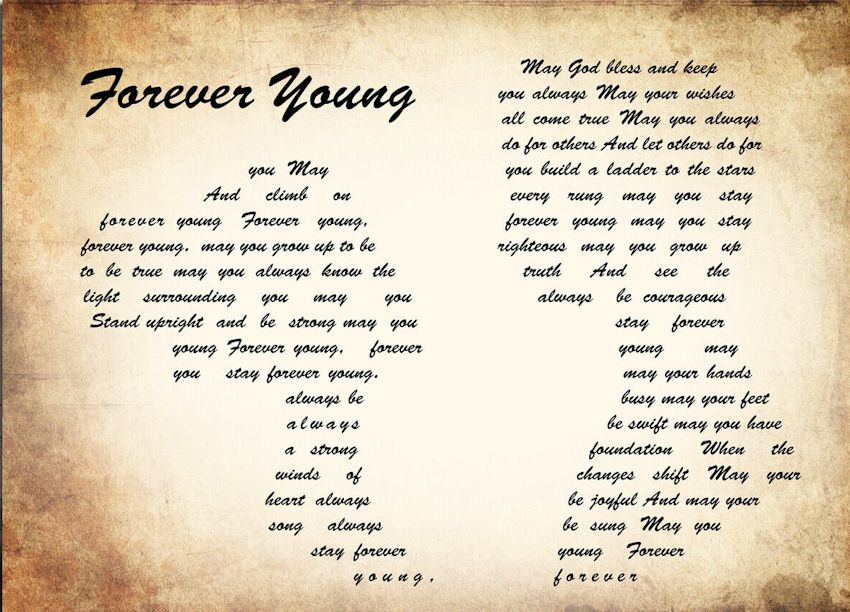 print lyric forever young couple