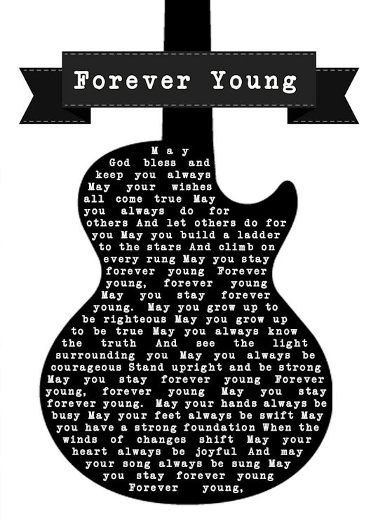 print lyric forever young guitar