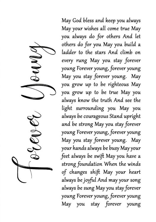 print lyric forever young white paper