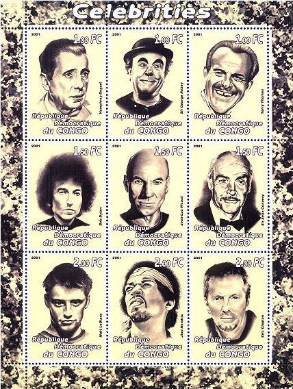 bob dylan R�publique              D�mocratique du Congo, 2001: 'Celebrities' stamp