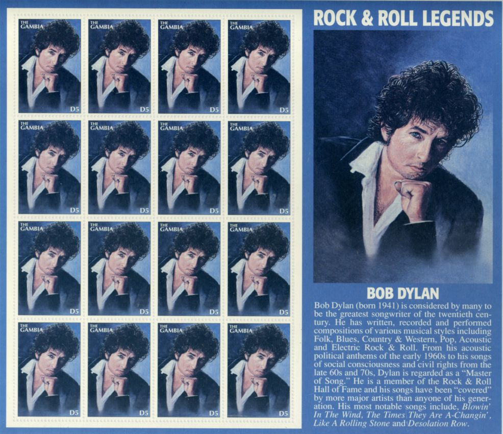 bob dylan gambia stamp planche