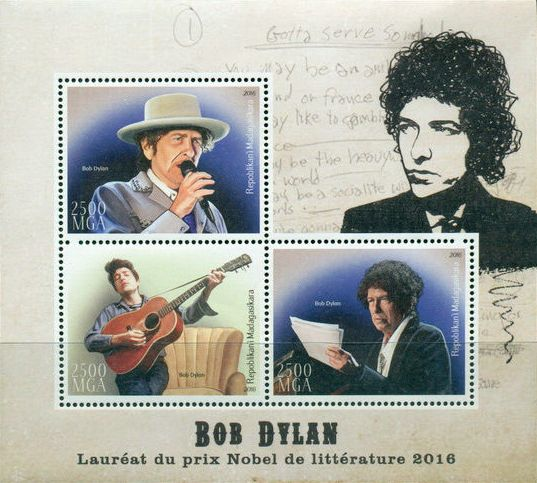bob dylan Madagascar 2016, 'Laur�at du Prix Nobel de Litt�rature 2016' stamp