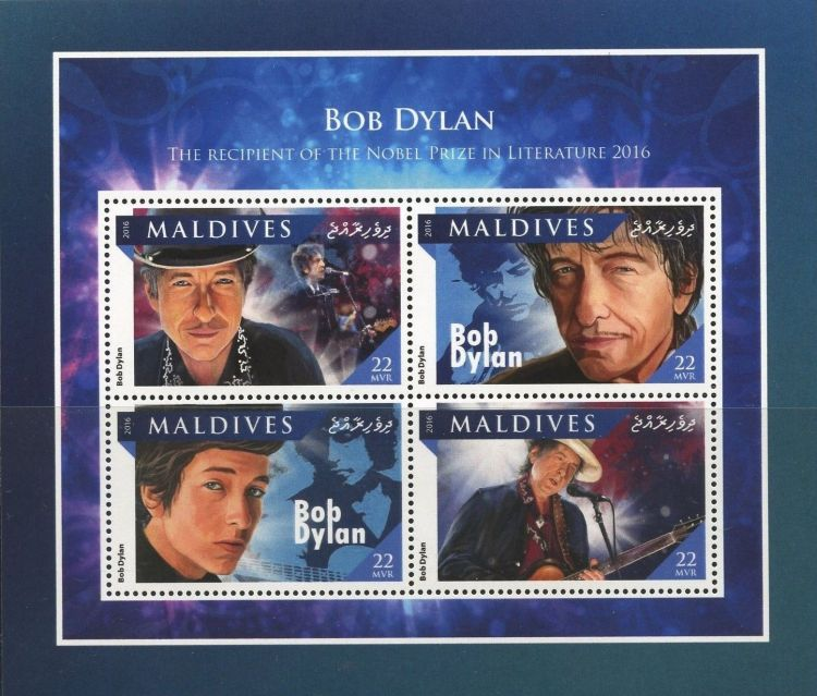 bob dylan stamps Maldives Islands, 2016 'The Recipient of the Nobel Prize in Literature 2016' #3