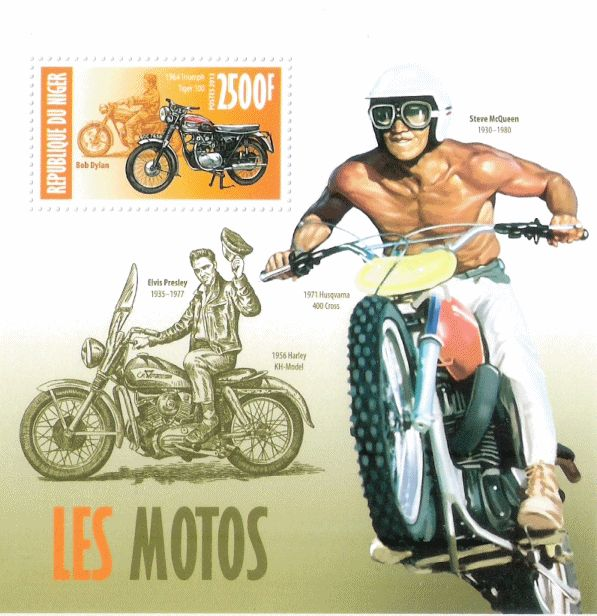 bob dylan R�publique du Niger 'Les Motos'. First Day Cover stamp