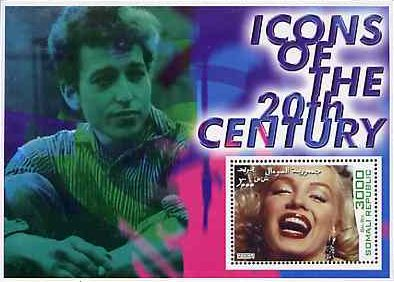 bob dylan Somali Republic, 2001 'Icons of the 20th Century' stamp