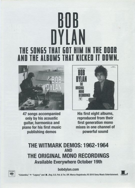 promotional stickers for the Bob Dylan Original Mono Recordings back