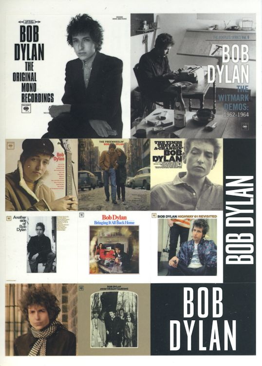 promotional stickers for the Bob Dylan Original Mono Recordings front