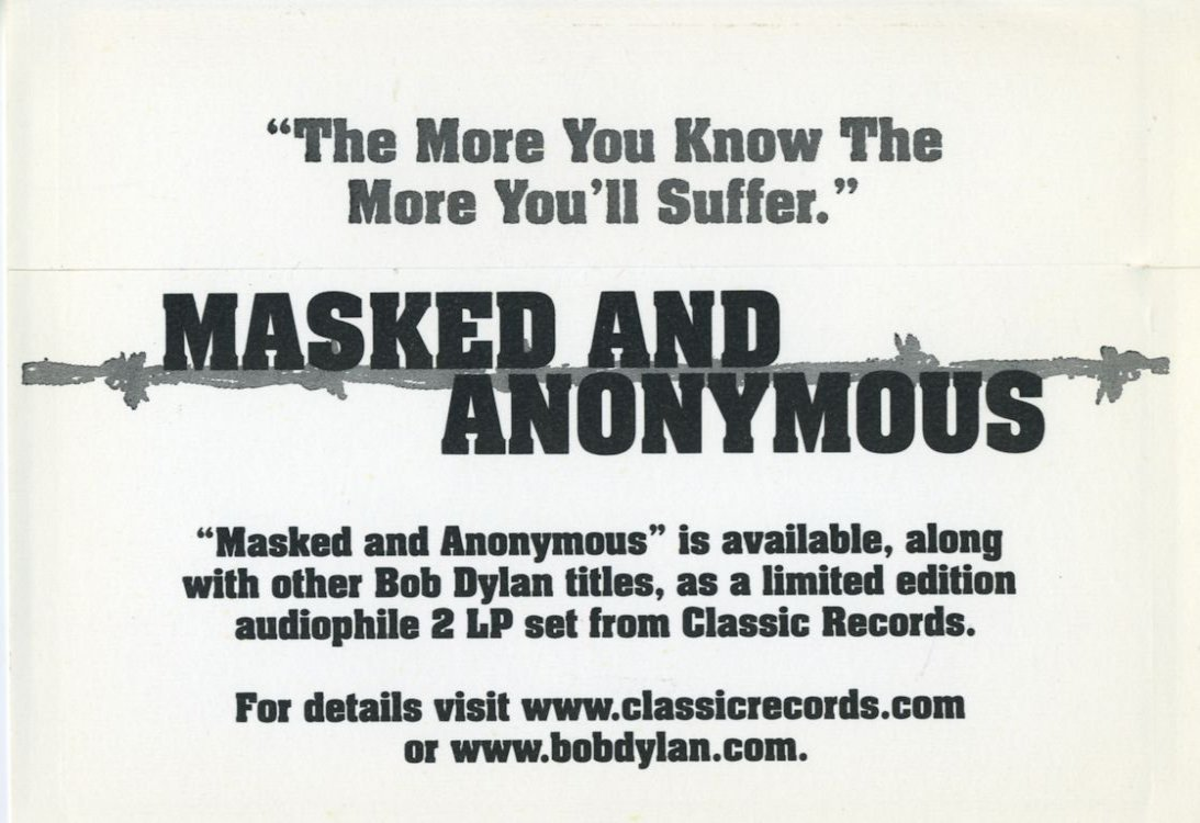 promotional stickers Masked And Anonymous movie  back