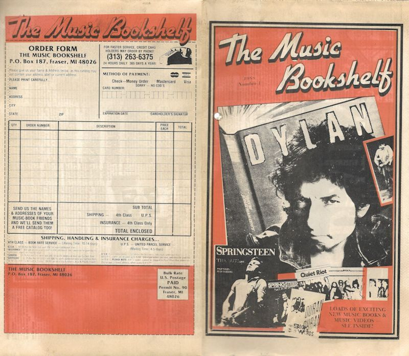 bob dylan the music bookshelf calalogue