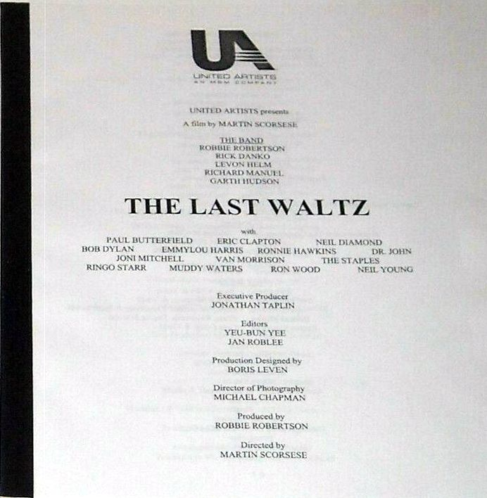 The Last Waltz DVD press kit 2