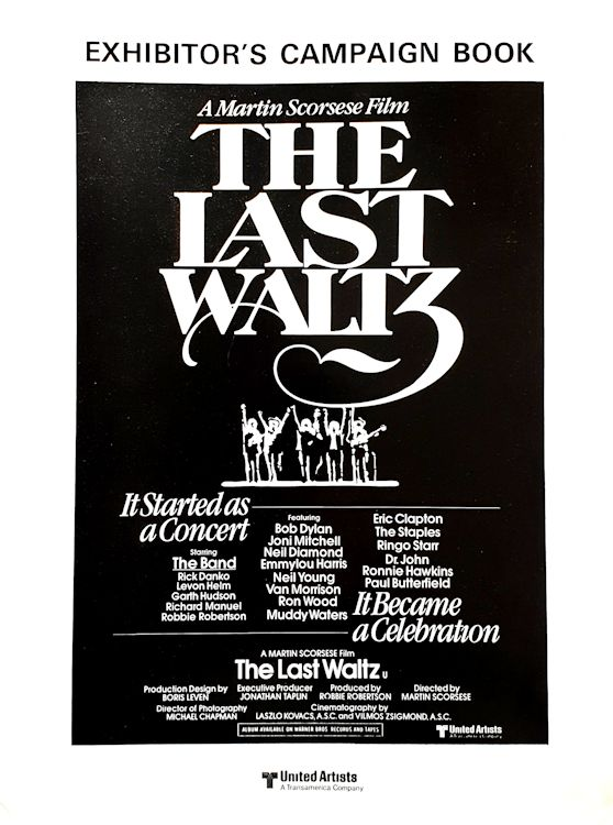 bob dylan the band the last waltz exhibitor's campain book