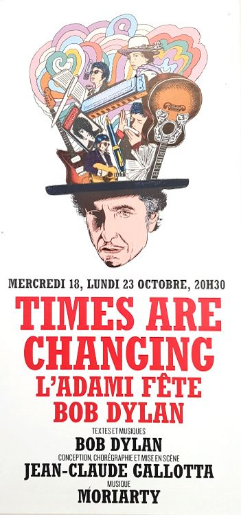 Bob Dylan theater times are changing Paris flyer