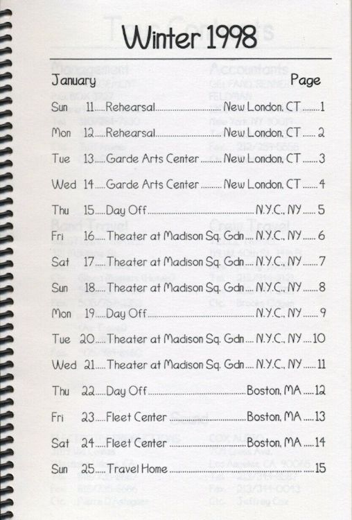 tour itineraries winter 1998 page 1  bob dylan