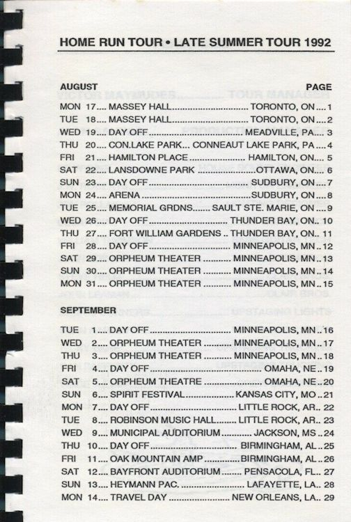 tour itineraries Europe 1987 bob dylan page 1