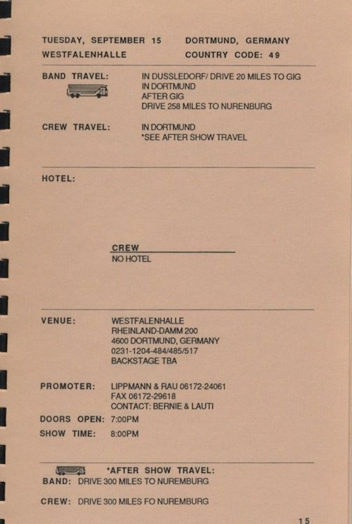 tour itineraries Europe 1987 bob dylan page 2
