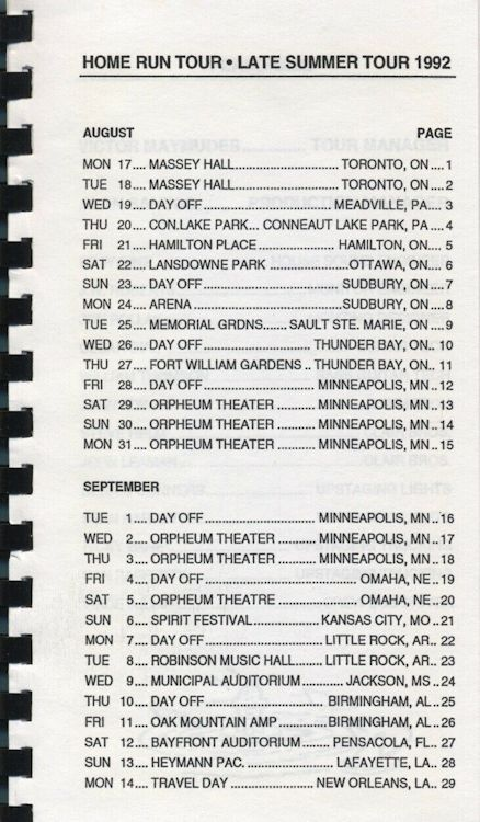 tour itineraries late summer 1992 bob dylan page 1