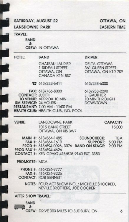 tour itineraries late summer 1992 bob dylan page 2