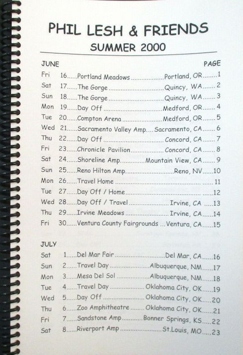 tour itineraries summer 2000 phil lesh bob dylan