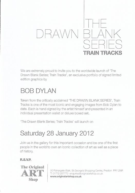 bob dylan the drawn blank series 2012 train tracks invitation