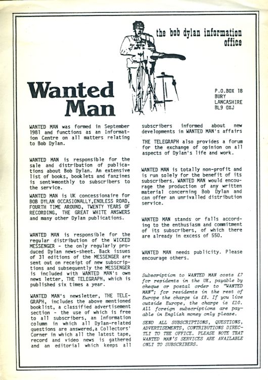 Wanted Man leaflet