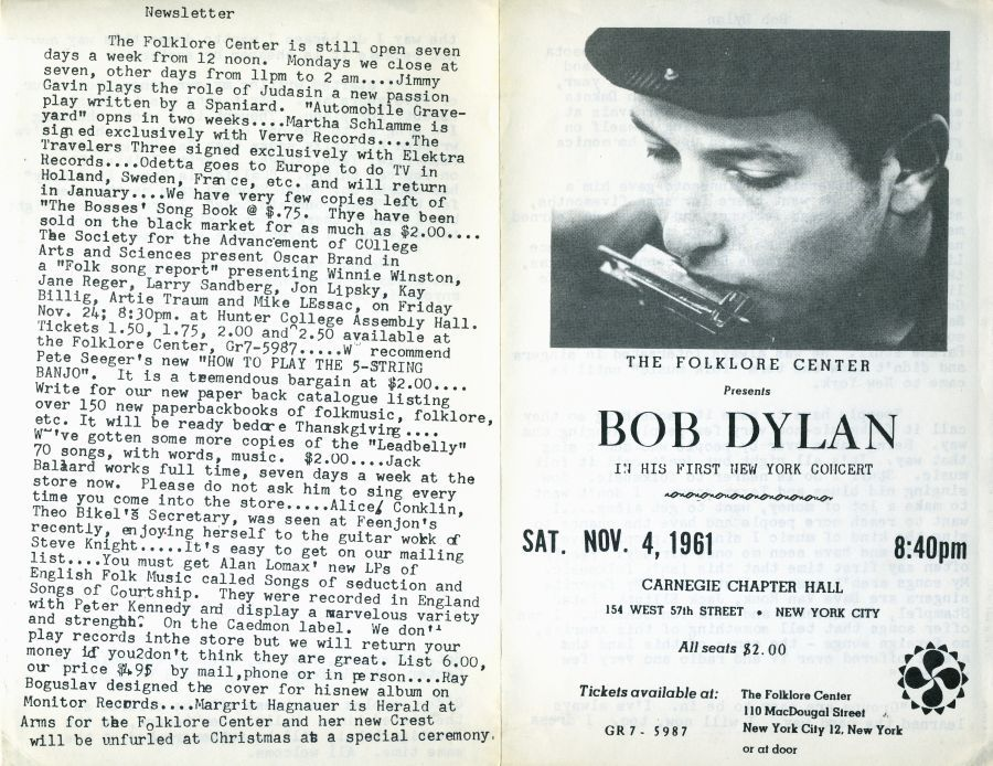 Bob Dylan 1961 folklore center nyc  Programme