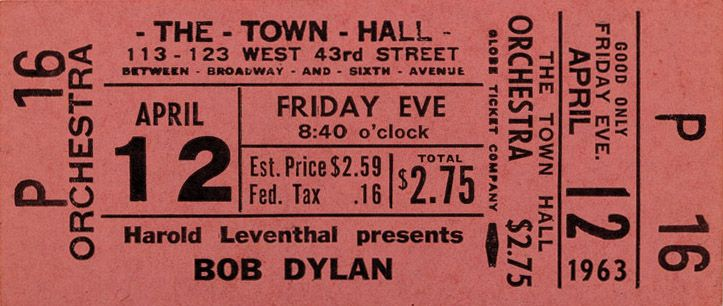 Town Hall nyc 12 april 1963 Bob Dylan ticket