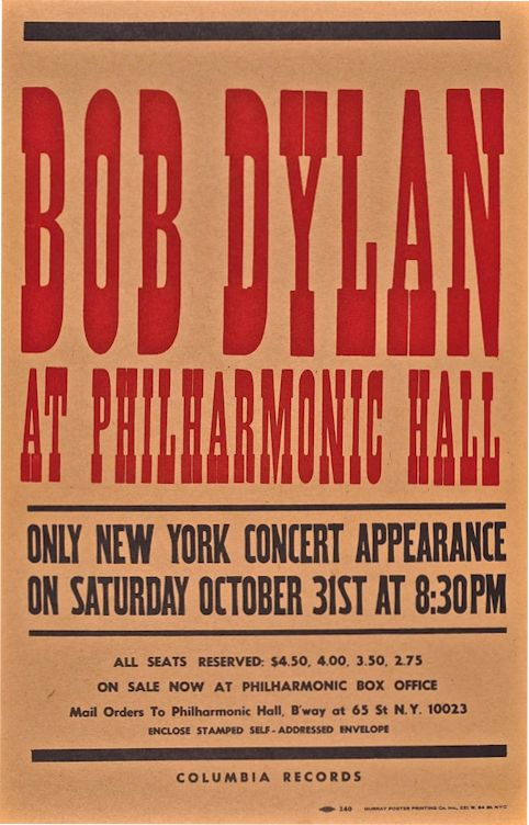 Philharmonic Hall, October 31, 1964 The Halloween Concert Bob Dylan Poster
