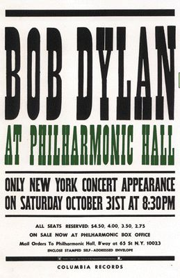 Philharmonic Hall, October 31, 1964 The Halloween Concert Bob Dylan reproduction of the poster