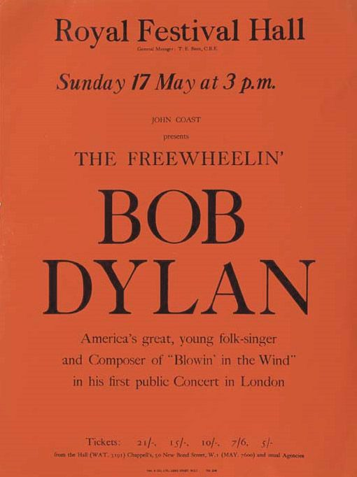royal festival hall 17 May 1964 Bob Dylan handbill